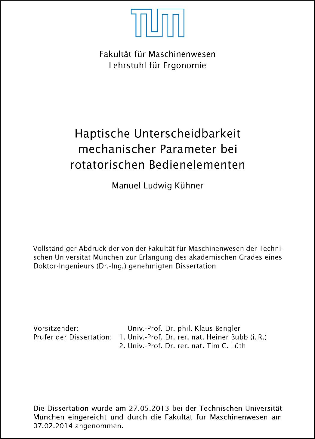 Titelblatt der Dissertation (Haptische Unterscheidbarkeit mechanischer Parameter bei rotatorischen Bedienelementen)